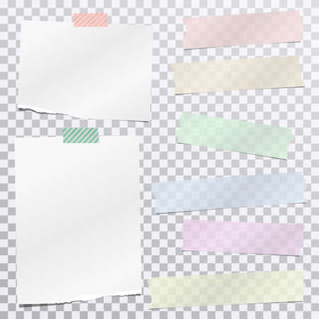 Colorful adhesive, sticky, masking tape strips with torn white note, notebook paper for text are on squared gray background. Vector illustration