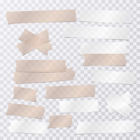 Brown and white adhesive, sticky, masking, duct tape strips for text are on squared gray background. Vector illustration