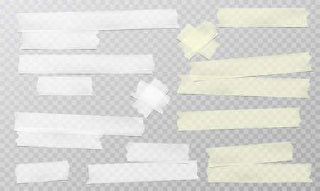Gelber und weißer Klebstoff, klebrige, maskierende Klebebandstreifen für Text befinden sich auf grauem Hintergrund. Vektor-Illustration Vektorgrafik