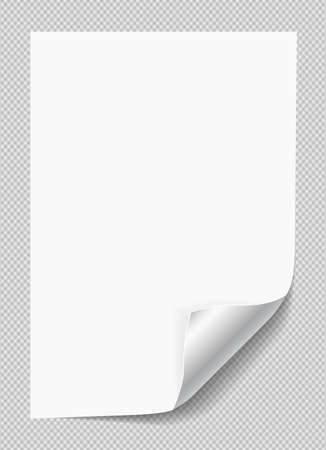 White notebook paper with curled corner for text or advertising message on gray squared background. Banco de Imagens - 122606399