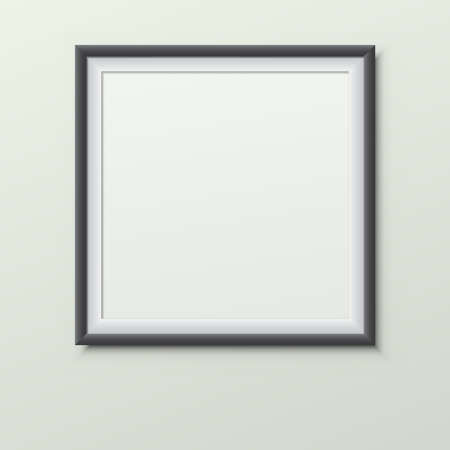 Black, white frame with soft shadow hanging on light green room wall for text or picture. 일러스트
