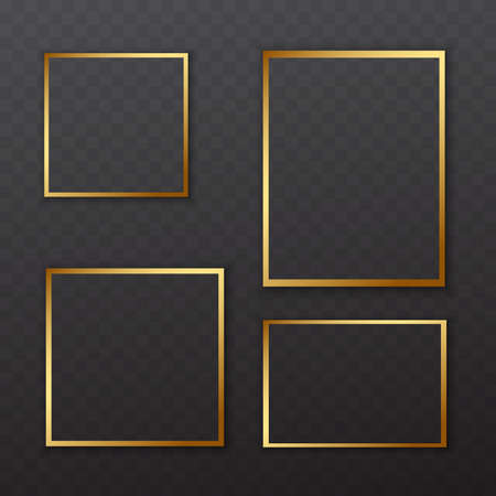 Golden square frames with soft shadow for text or picture are on squared black background
