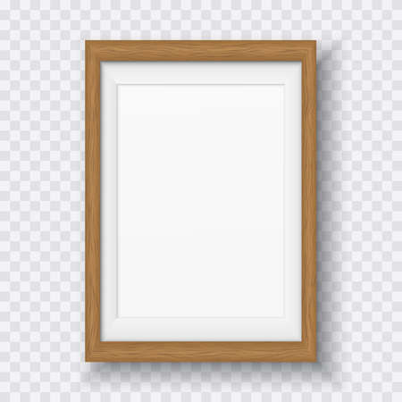 Brown wooden rectangle frame with soft shadow for text or picture is on squared white background.
