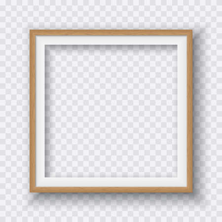 Brown square wooden frame with soft shadow for text or picture is on squared white background Illustration