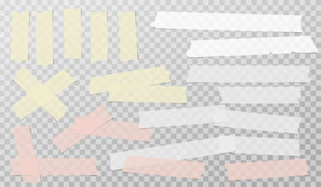 Colorful white adhesive, sticky, masking, duct tape strips for text are on squared gray background. Vector illustration 일러스트