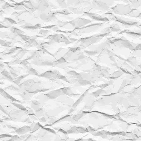 Old crumpled, recycled white paper texture or background. Vector illustration Illustration