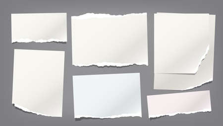 Ripped, torn note, notebook paper strips, copybook sheet stuck on dark grey background. Vector illustration