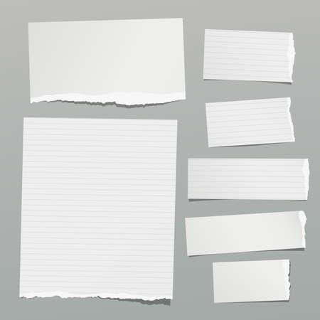 Conjunto de nota rasgada, cuaderno forrado y hojas de papel en blanco, tiras pegadas sobre fondo gris. Ilustración vectorial