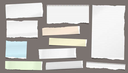 Set of torn white and colorful note, notebook lined and blank paper pieces stuck on dark background. Vector illustration Ilustração