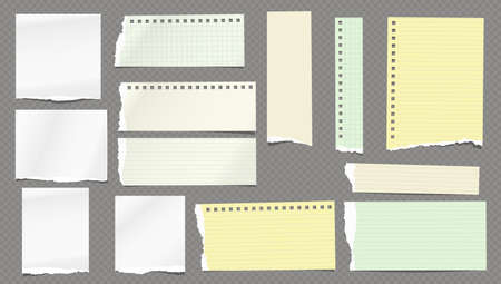 Torn white and colorful note, notebook lined and blank paper pieces stuck on dark squared background. Vector illustration.