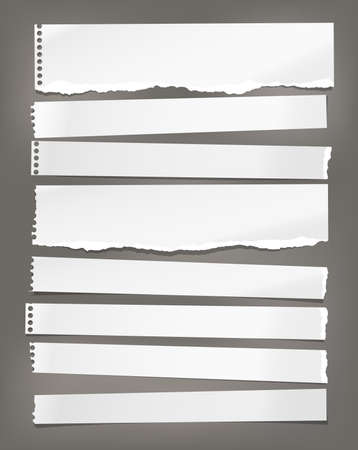 Torn white horizontal note, notebook paper pieces stuck on dark background. Vector illustration Ilustração