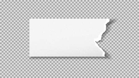 Torn white note, notebook grainy paper piece is on grey squared background. Vector illustration