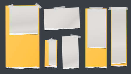 White and yellow ripped, torn note, notebook paper strips, stuck with sticky tape on black background. Vector illustration