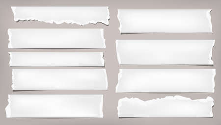 Set of torn white note, notebook blank paper pieces stuck on brown background. Vector illustration Stock Illustratie
