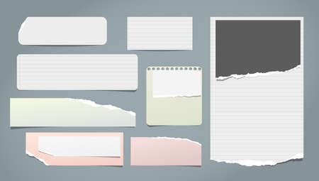 Set of torn white and colorful note, notebook blank, lined paper pieces stuck on blue background. Vector illustration