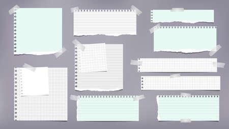 Satz zerrissene weiße und grüne Notiz, Notizbuchstreifen, linierte und karierte Papierstücke, die mit Klebeband auf grauem Hintergrund geklebt sind. Vektor-Illustration Vektorgrafik