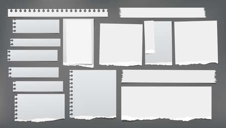 Set of torn white note, notebook strips, paper pieces stuck on dark grey background. Vector illustration