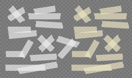 Adhesive, sticky, masking, duct tape strips for text on gray squared background. Vector illustration. Ilustrace