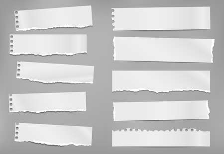 Set of torn white note, notebook paper strips and pieces with soft shadow stuck on grey background. Vector illustration Stock Illustratie