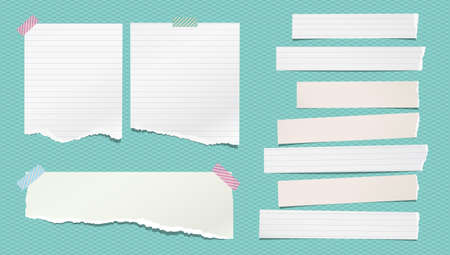 Torn white note, notebook paper strips and pieces stuck on turquoise background. Vector illustration
