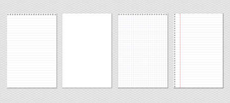 White lined, squared and blank notebook, copybook paper sheets are on grey background. Vector illustration