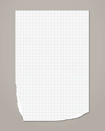 White ripped squared notebook, copybook paper sheet are on grey background. Vector illustration