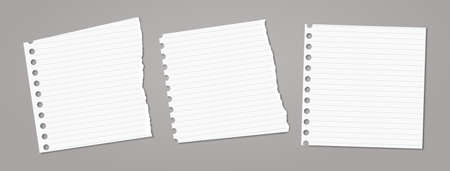 Set of torn white note, notebook paper pieces stuck on dark grey background. Vector illustration Иллюстрация