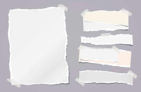Torn white note, notebook paper strips stuck with sticky tape on dark grey background. Vector illustration Иллюстрация