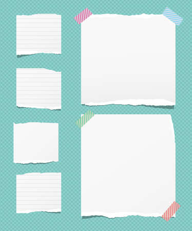 Torn white note, notebook paper strips stuck with sticky tape on squared turquoise background. Vector illustration