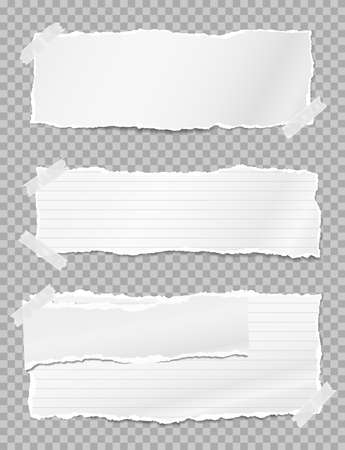 Torn white note paper pieces with soft shadow stuck on grey squared background. Vector illustration Stock Illustratie