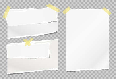 Torn white note, notebook paper strips stuck with sticky tape on grey squared background. Vector illustration