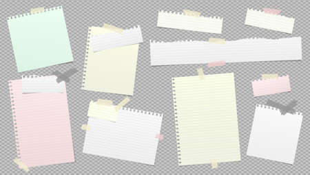 Torn white and colorful note, notebook paper strips stuck with sticky tape on dark grey background. Vector illustration Ilustracja