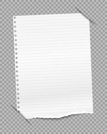 Lined white ripped paper inserted into gray squared background