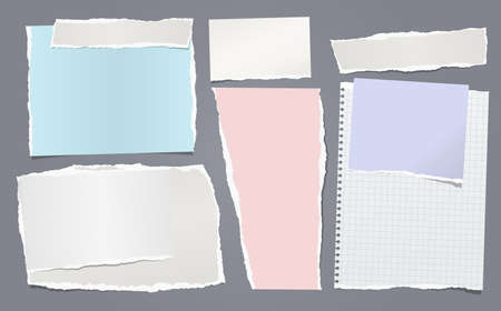 Torn white and colorful note, notebook paper pieces stuck on dark blue background. Vector illustration