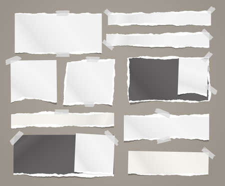 Torn white and black note, notebook paper pieces stuck with sticky tape on brown background. Vector illustration
