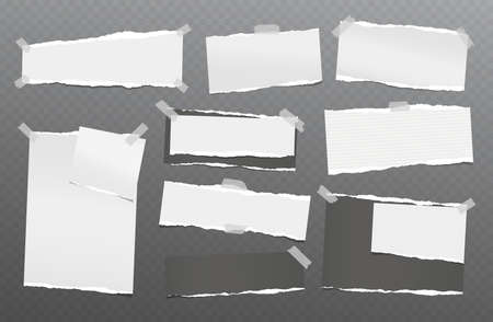 Torn white and black note, notebook paper pieces stuck on dark squared background. Vector illustration