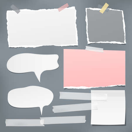 Torn white note, notebook paper pieces, speech bubbles and sticky adhesive tape stuck on dark background. Vector illustration