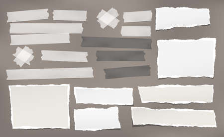 Torn white note, notebook paper pieces and adhesive sticky tape stuck on dark brown background. Vector illustration