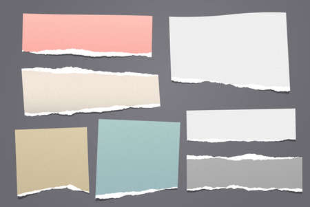 Torn white and colorful note, notebook paper pieces stuck on dark grey background. Vector illustration