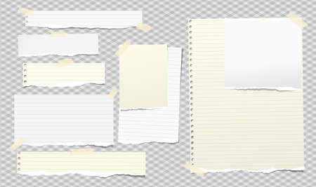 Torn white and yellow note, notebook paper pieces stuck with sticky tape on squared grey background. Vector illustration