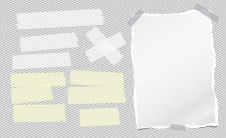 Torn white note, notebook paper piece withsticky tape on squared grey background. Vector illustration Иллюстрация