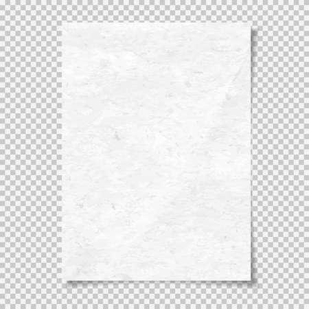 Weiße körnige Note, Notizbuchpapier für Text mit weichem Schatten ist auf quadratischem Hintergrund. Vektor-Illustration Vektorgrafik