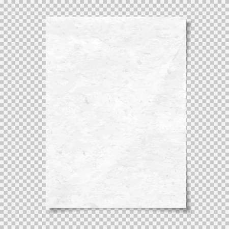 White grainy note, notebook paper for text with soft shadow is on squared background. Vector illustration