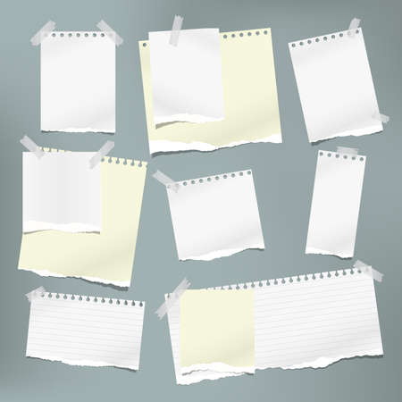Torn white and yellow note, notebook paper pieces stuck with sticky tape on grey background. Vector illustration