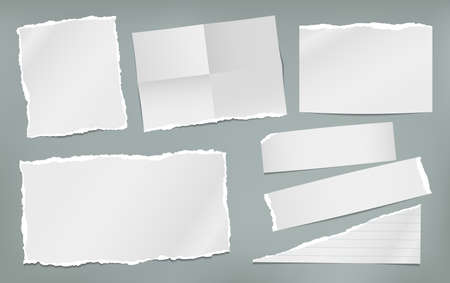 Torn white and folded note, notebook paper pieces stuck on green background. Vector illustration.
