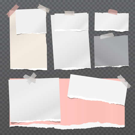 Torn white and colorful note, notebook paper pieces stuck with sticky tape on dark squared grey background. Vector illustration Illustration