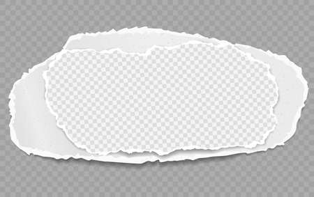 Torn, ripped piece of white squared paper with soft shadow are on grey background. Vector illustration Illusztráció