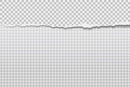 Torn, ripped piece of horizontal grey paper with soft shadow is on white squared background. Vector illustration Stockfoto
