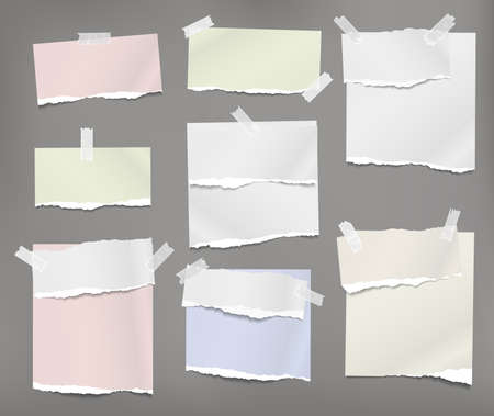 Torn white and colorful note, notebook paper pieces stuck with sticky tape on grey background. Vector illustration