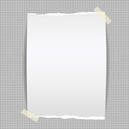 Torn white, blank note, notebook paper piece stuck with sticky tape on dark squared background. Vector illustration.